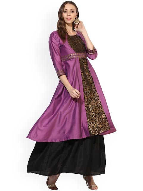 Shakumbhari Women Purple Woven Design Katan Silk A-Line Kurta