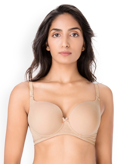 PrettySecrets Nude-Coloured Solid Underwired Lightly Padded T-shirt Bra