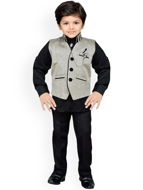 AJ Dezines Boys Grey & Black Clothing Set