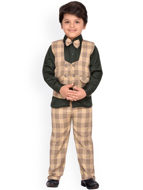 AJ Dezines Boys Beige & Black Checked Clothing Set