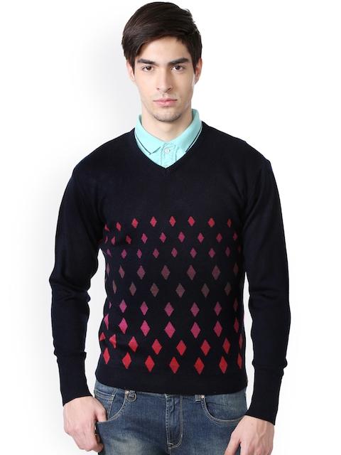 Peter England Men Black Self Design Pullover