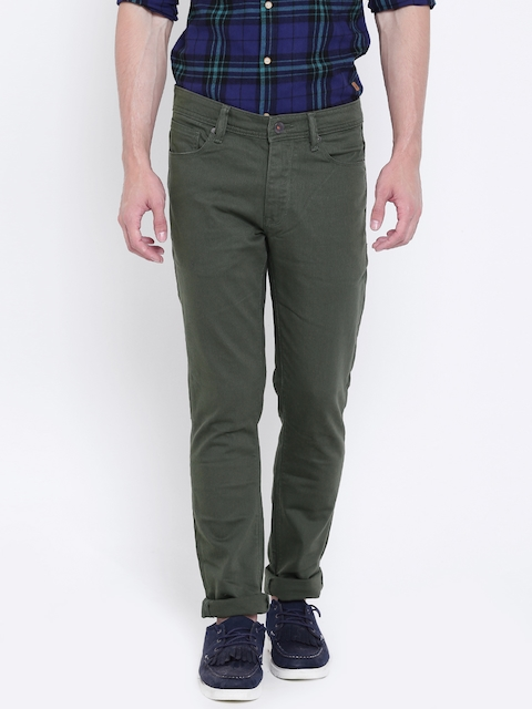 United Colors of Benetton Men Olive Green Skinny Fit Mid-Rise Clean Look Stretchable Jeans