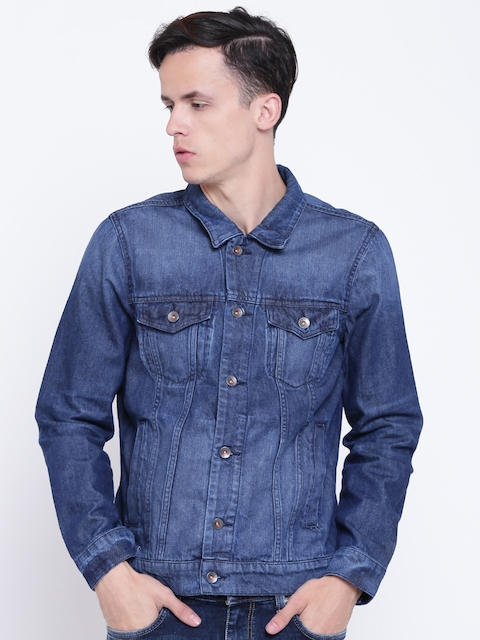 United Colors of Benetton Men Blue Washed Denim Jacket