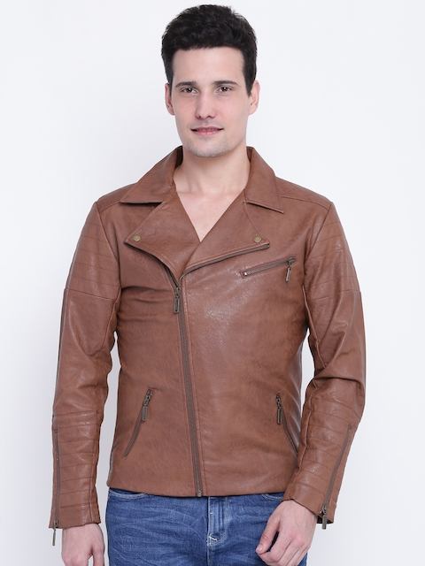 United Colors of Benetton Men Brown Solid Biker Jacket