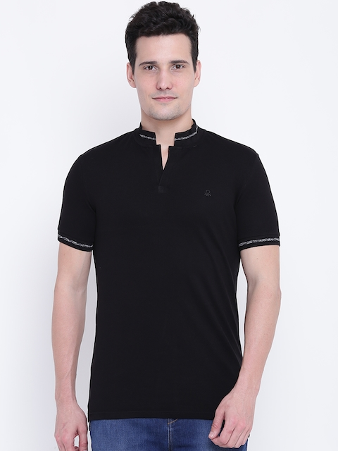 United Colors of Benetton Men Black Solid Stand Collar T-shirt