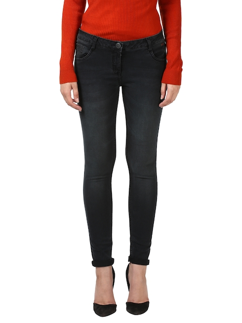 Park Avenue Women Black Slim Fit Mid-Rise Clean Look Jeans