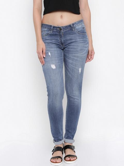 Park Avenue Women Blue Skinny Fit Low-Rise Low Distress Jeans