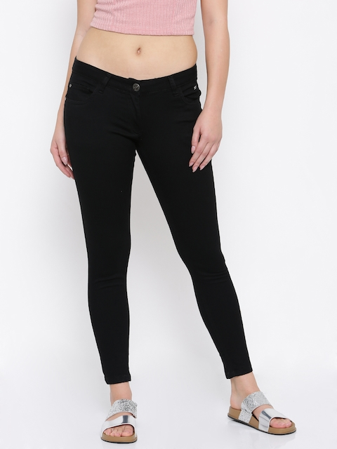 Park Avenue Woman Black Power Skinny Fit Low-Rise Clean Look Stretchable Jeans