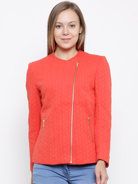 Park Avenue Woman Orange Self Design Tailored Jacket