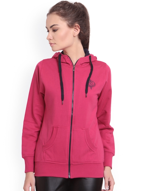 TAB91 Women Pink Solid Hooded Sweatshirt
