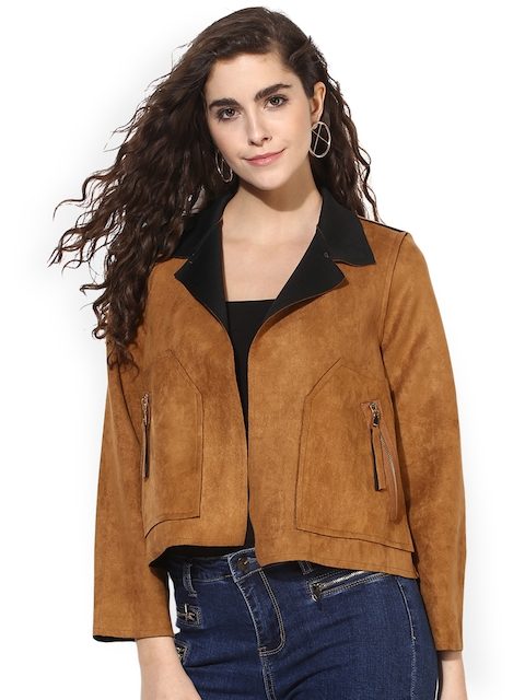 Kazo Women Brown Solid Windcheater and Water Resistant Bomber