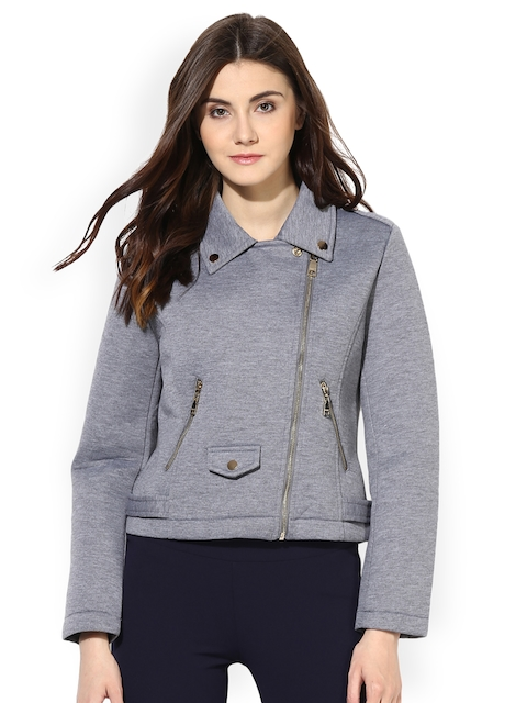 Kazo Women Grey Solid Windcheater and Water Resistant Bomber