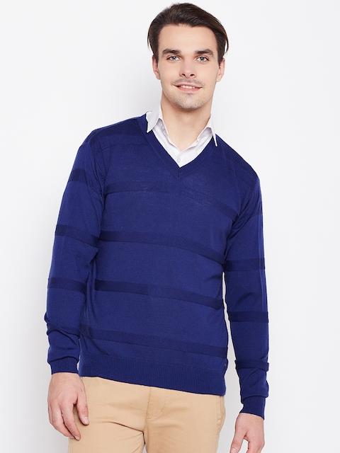 Raymond Men Blue Self-Striped Sweater