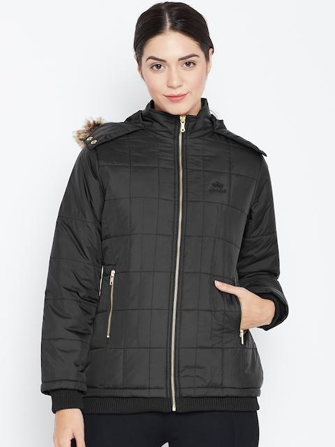 Duke Women Black Quilted Hooded Parka Jacket