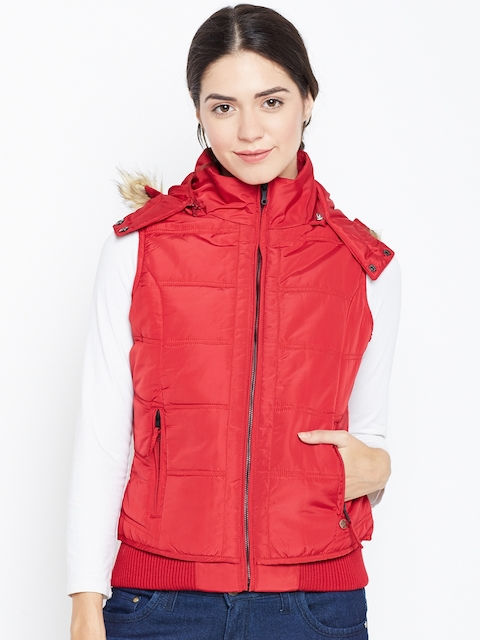 Duke Women Red Solid Bomber Jacket with Detachable Hood