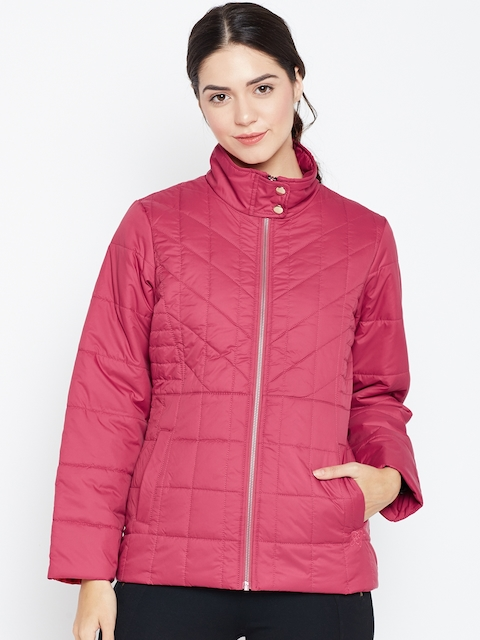 Duke Women Pink Solid Quilted Jacket