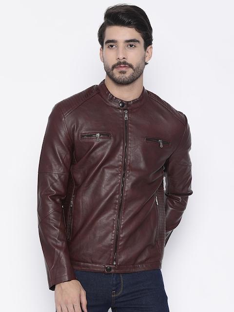 The Indian Garage Co Men Burgundy Solid Biker Jacket