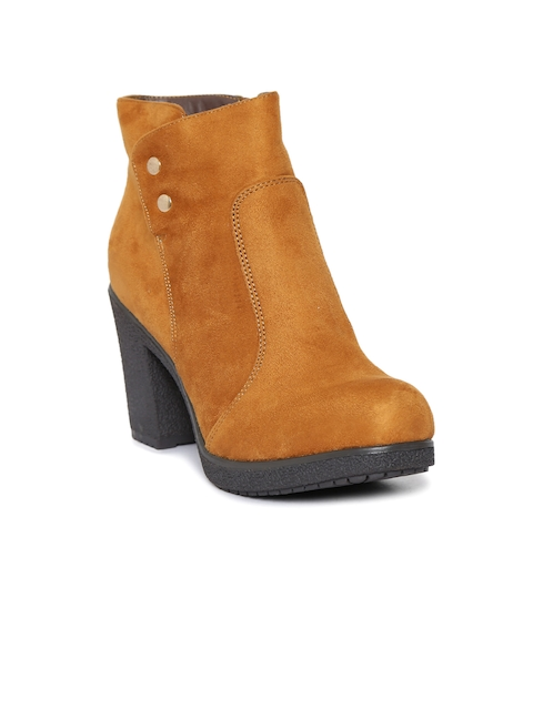 Catwalk Women Tan Brown Solid Heeled Boots