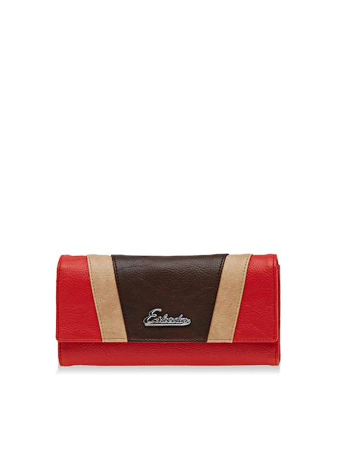 ESBEDA Women Red & Brown Colourblocked Twofold Wallet