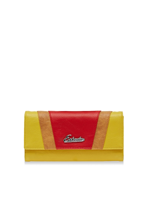 ESBEDA Women Yellow & Red Colourblocked Twofold Wallet