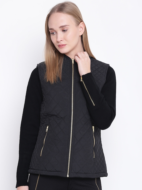 Fort Collins Women Black Solid Sleeveless Quilted Jacket