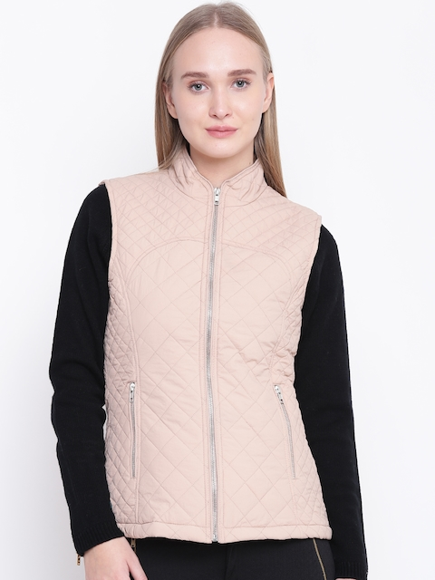 Fort Collins Women Peach-Coloured Solid Sleeveless Quilted Jacket