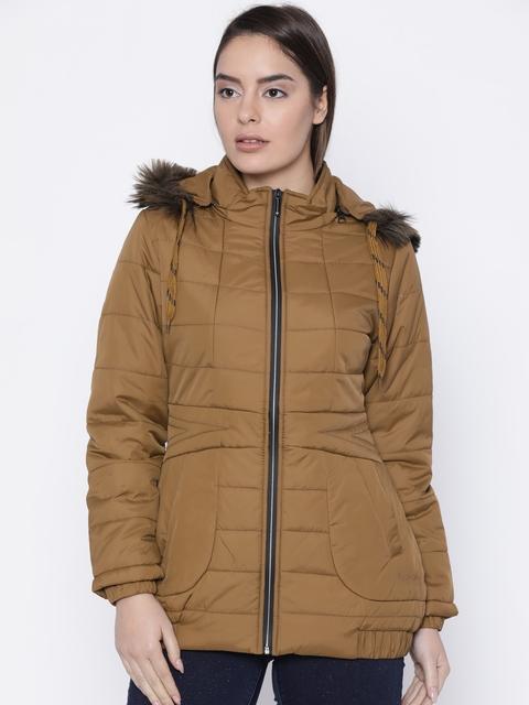 Fort Collins Women Brown Solid Parka Jacket