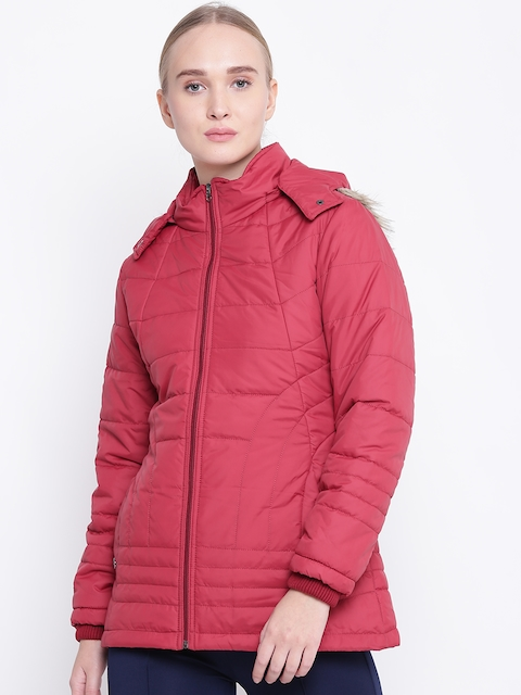 Fort Collins Women Maroon Solid Parka Jacket with Detachable Hood