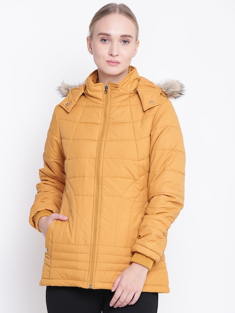 Fort Collins Women Mustard Yellow Solid Hooded Parka Jacket