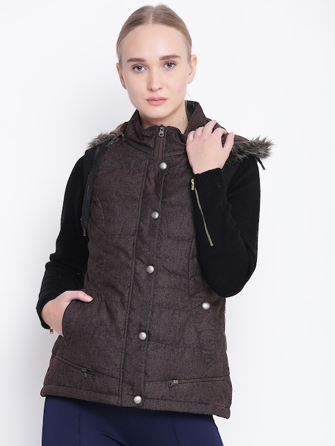 Fort Collins Women Coffee Brown Sleeveless Printed Parka Jacket with Detachable Hood