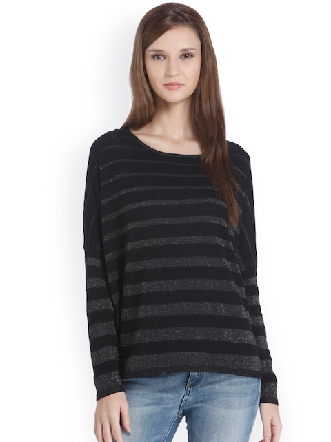 ONLY Women Black & Silver-Toned Striped Pullover