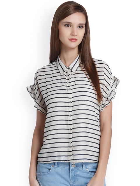 ONLY Women Beige & Black Striped Casual Shirt