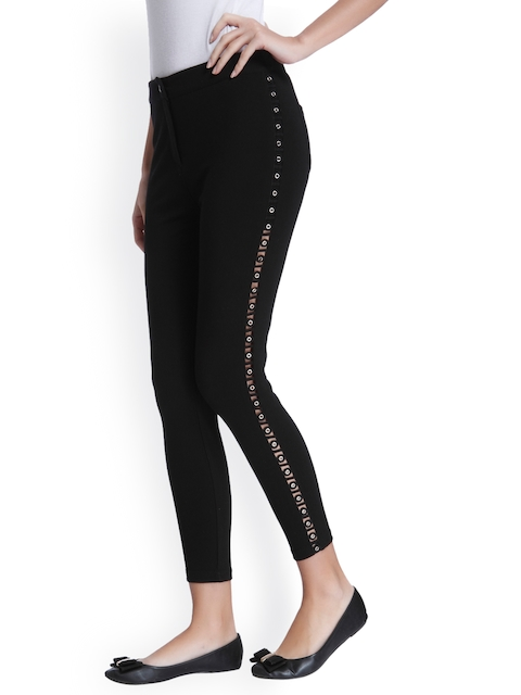 ONLY Women Black Regular Fit Solid Regular Trousers