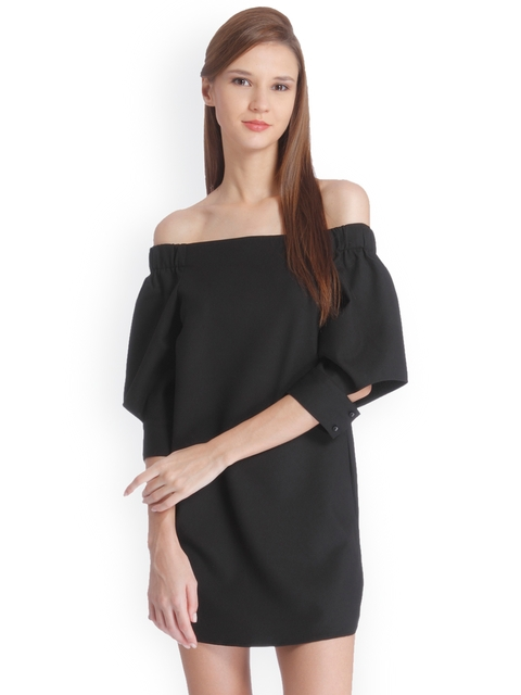 ONLY Women Black Solid A-Line Off-Shoulder Dress