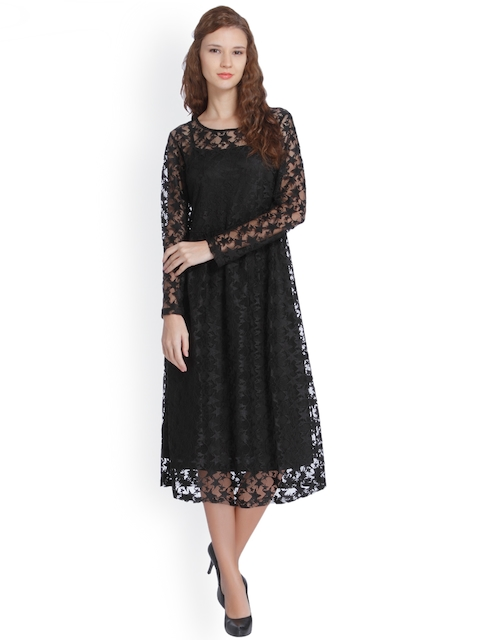 ONLY Women Black Self Design Lace A-Line Dress