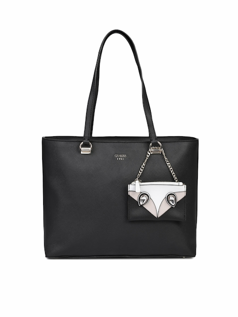 GUESS Black Solid Shoulder Bag with Pouch
