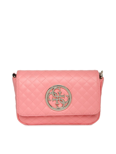 GUESS Pink Quilted Mini Cross Body Flap Bag