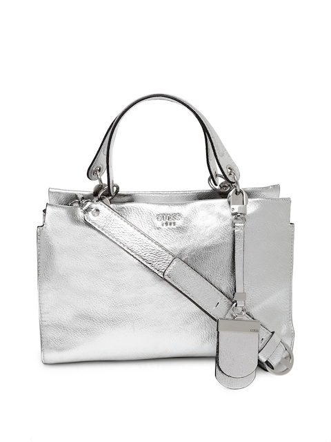 GUESS Silver-Toned Andie Girlfriend Satchel with Sling Strap