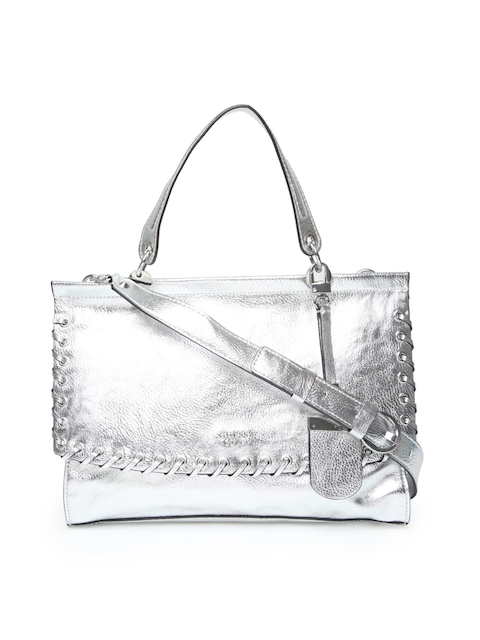 GUESS Silver-Toned Solid Satchel with Sling Strap