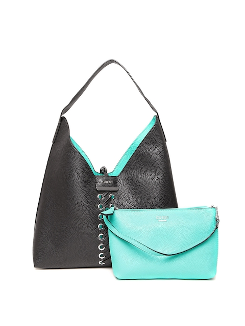 GUESS Black & Blue Reversible Hobo Bag