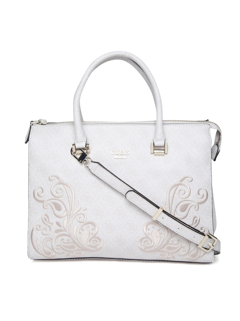 GUESS Grey Printed Handheld Bag with Sling Strap