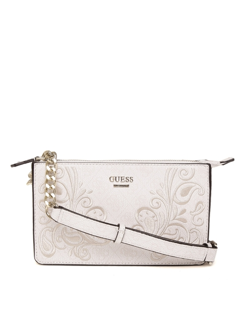 GUESS Off-White Embroidered Arianna Mini X-Body Top Zip Bag