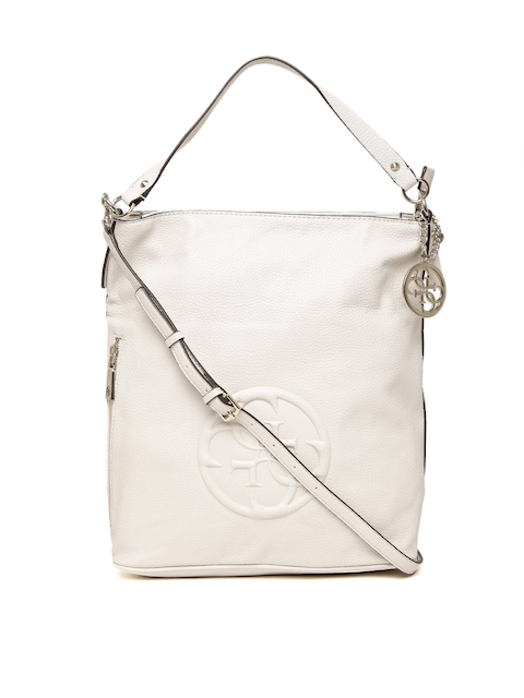 GUESS White KORRY CRUSH Bucket Bag