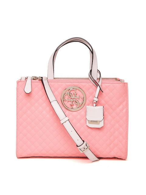 GUESS Pink Self Design Handheld Bag