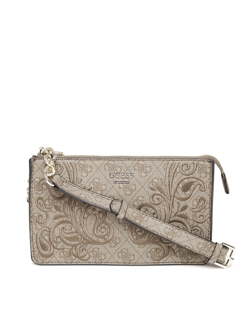 GUESS Brown Embroidered Arianna Mini XBody Top Zip Bag