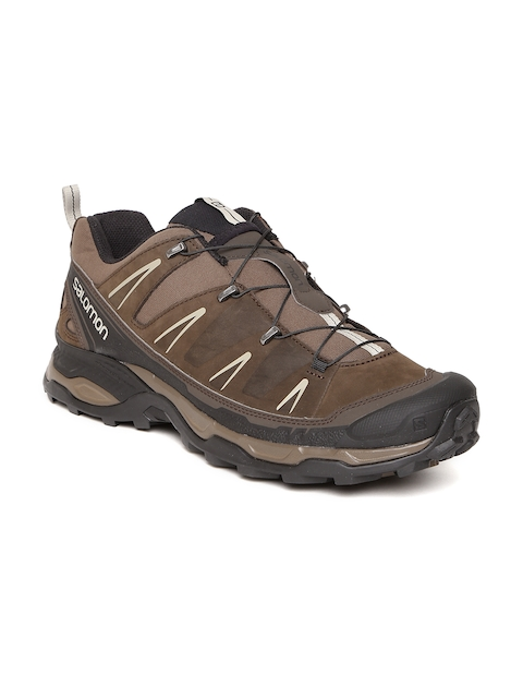 Salomon Men Brown X Ultra Leather Hiking Shoes