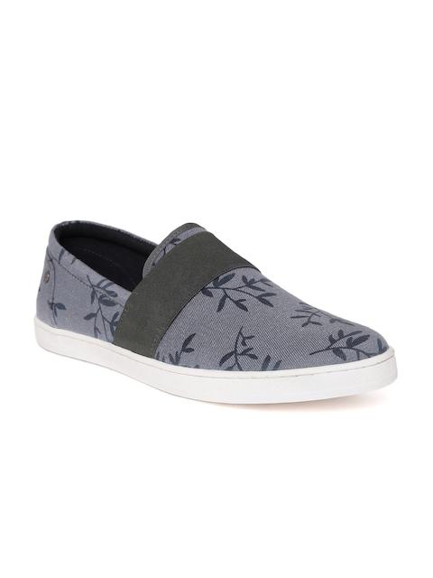 Allen Solly Men Grey Leaf Print Slip-On Sneakers