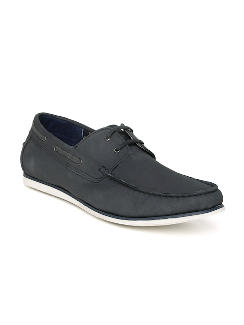 Allen Solly Men Navy Blue Leather Boat Shoes