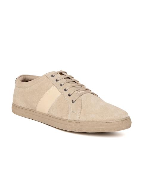 Allen Solly Men Beige Suede Sneakers