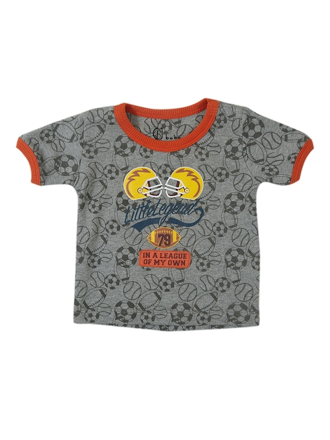 Gini and Jony Infant Boys Grey Printed Round Neck T-shirt